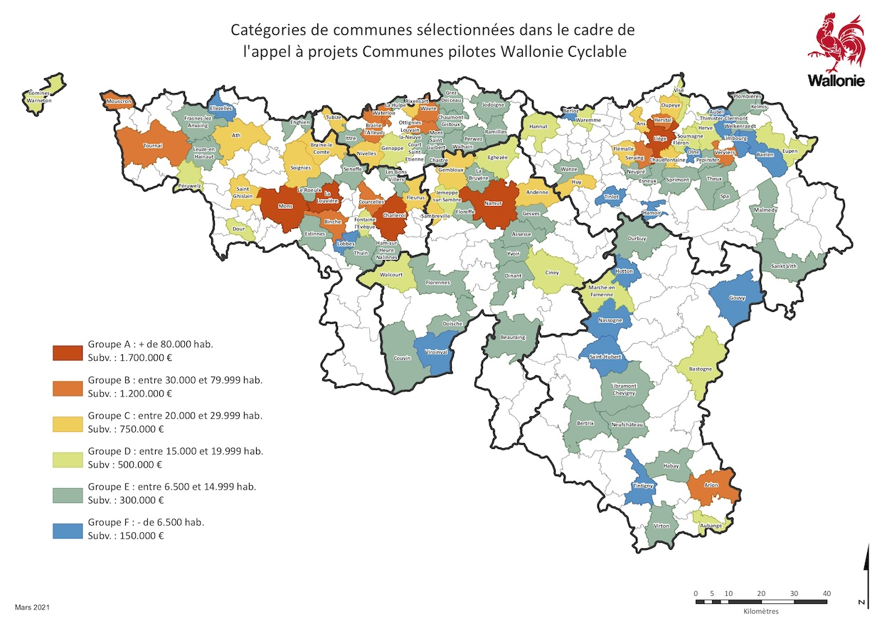 Communes pilotes Wallonie Cyclable 2021/22
